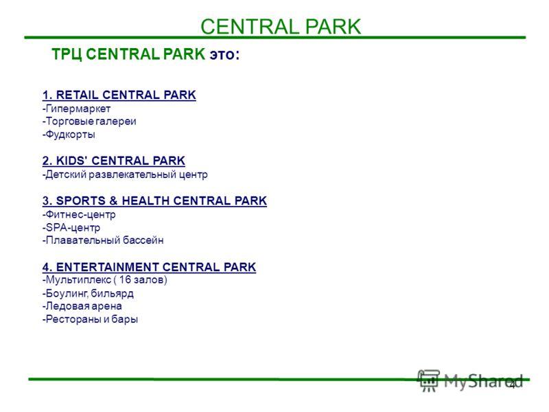 4 CENTRAL PARK ТРЦ CENTRAL PARK это: 1. RETAIL CENTRAL PARK -Гипермаркет -Торговые галереи -Фудкорты 2. KIDS' CENTRAL PARK -Детский развлекательный центр 3. SPORTS & HEALTH CENTRAL PARK -Фитнес-центр -SPA-центр -Плавательный бассейн 4. ENTERTAINMENT