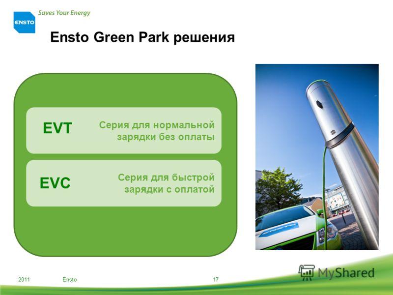 Ensto Green Park решения 2011 Ensto17 Серия для нормальной зарядки без оплаты Серия для быстрой зарядки с оплатой EVT EVC