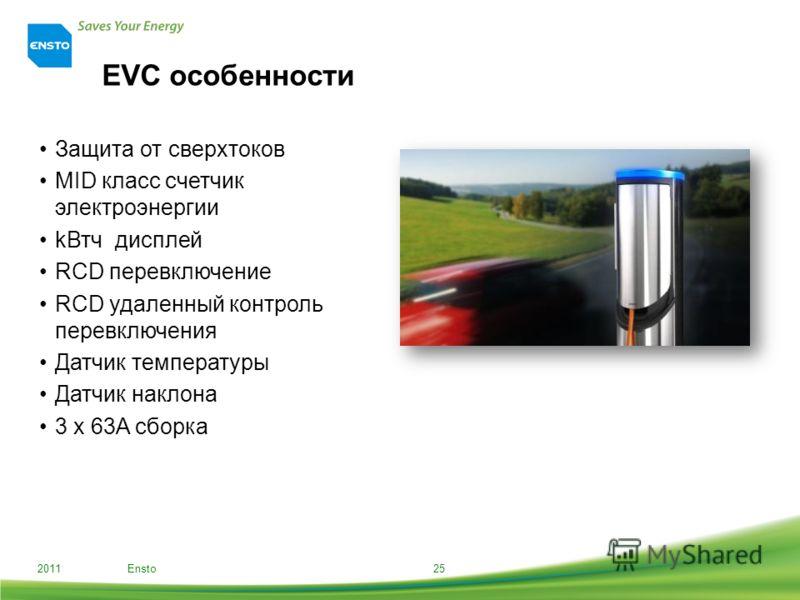 EVC особенности Защита от сверхтоков MID класс счетчик электроэнергии kВтч дисплей RCD перевключение RCD удаленный контроль перевключения Датчик температуры Датчик наклона 3 x 63A сборка 2011 Ensto25