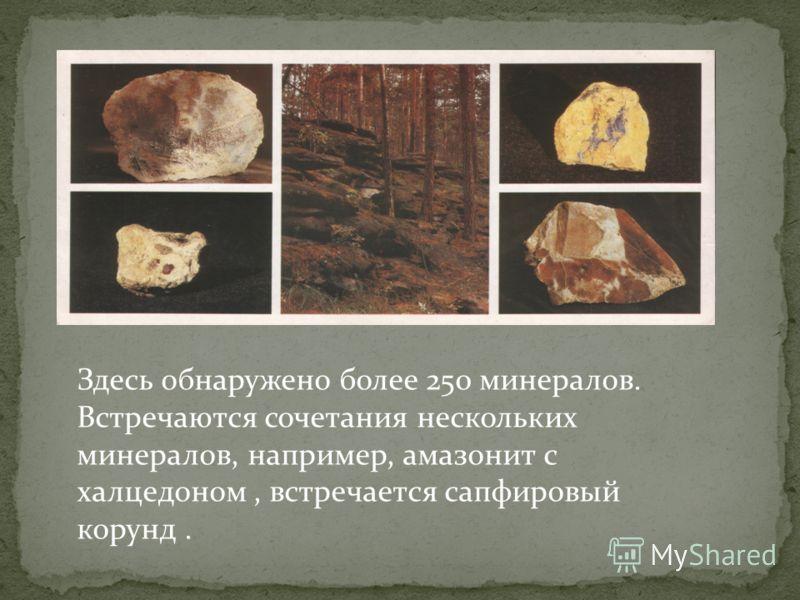 Здесь обнаружено более 250 минералов. Встречаются сочетания нескольких минералов, например, амазонит с халцедоном, встречается сапфировый корунд.