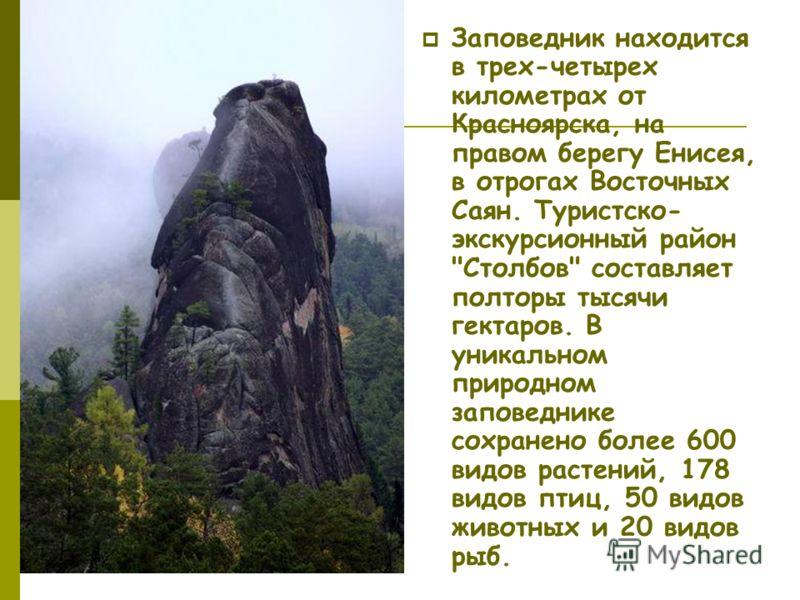 Заповедник находится в трех-четырех километрах от Красноярска, на правом берегу Енисея, в отрогах Восточных Саян. Туристско- экскурсионный район