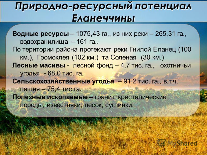 Природно-ресурсный потенциал Еланеччины Водные ресурсы – 1075,43 га., из них реки – 265,31 га., водохранилища – 161 га.. По територии района протекают реки Гнилой Еланец (100 км.), Громоклея (102 км.) та Соленая (30 км.) Лесные масивы - лесной фонд –
