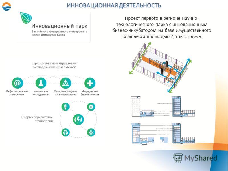 ИННОВАЦИОННАЯ ДЕЯТЕЛЬНОСТЬ Проект первого в регионе научно- технологического парка с инновационным бизнес-инкубатором на базе имущественного комплекса площадью 7,5 тыс. кв.м в
