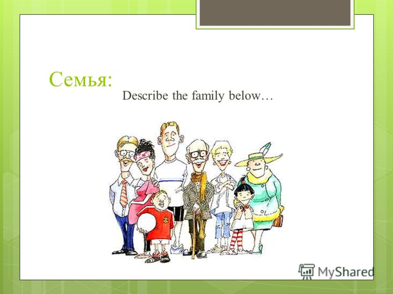 Семья: Describe the family below…