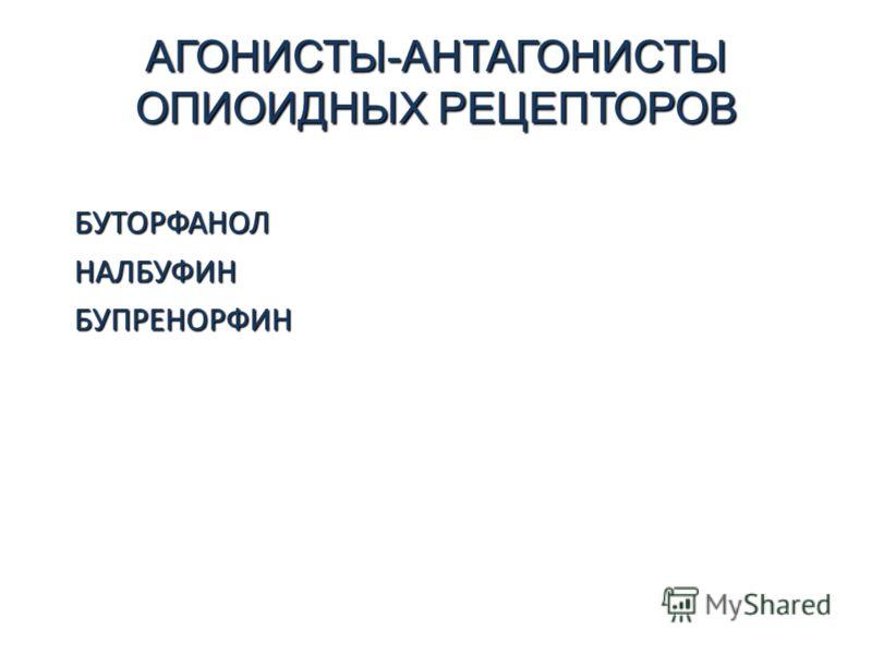 АГОНИСТЫ-АНТАГОНИСТЫ ОПИОИДНЫХ РЕЦЕПТОРОВ БУТОРФАНОЛНАЛБУФИНБУПРЕНОРФИН