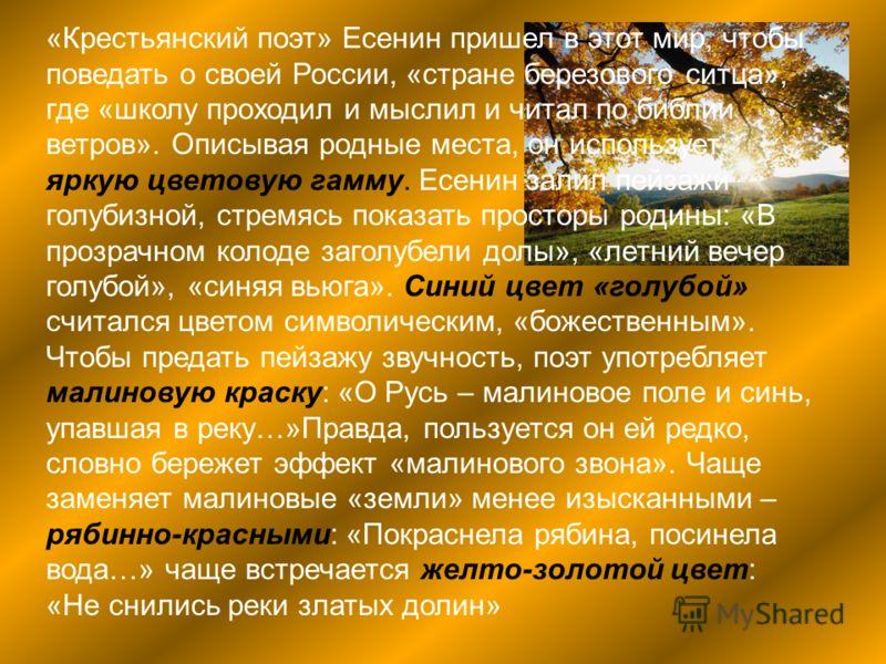 «Крестьянский поэт» Есенин пришел в этот мир, чтобы поведать о своей России, «стране березового ситца», где «школу проходил и мыслил и читал по библии ветров». Описывая родные места, он использует яркую цветовую гамму. Есенин залил пейзажи голубизной