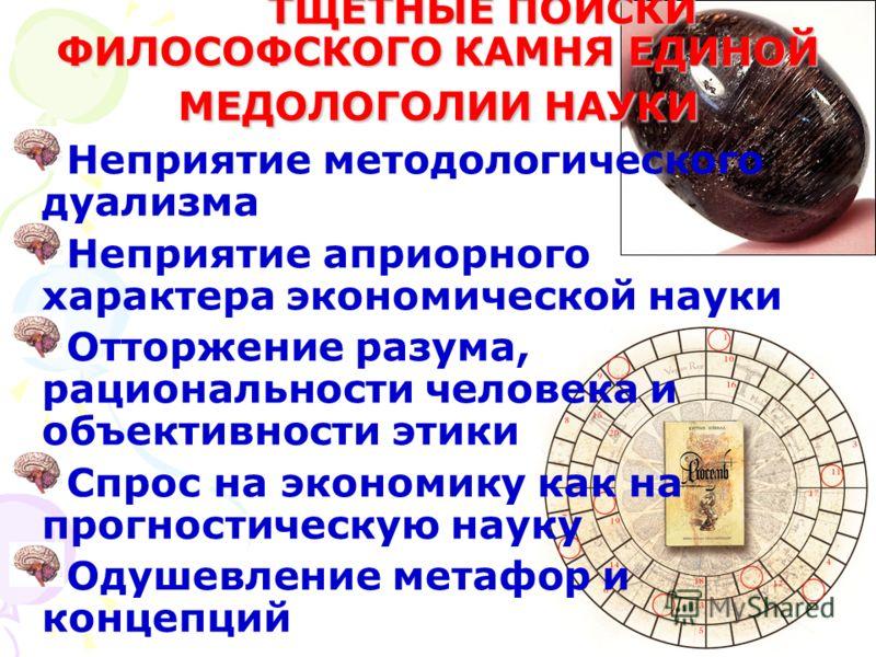 ТЩЕТНЫЕ ПОИСКИ ФИЛОСОФСКОГО КАМНЯ ЕДИНОЙ МЕДОЛОГОЛИИ НАУКИ Неприятие методологического дуализма Неприятие априорного характера экономической науки Отторжение разума, рациональности человека и объективности этики Спрос на экономику как на прогностичес