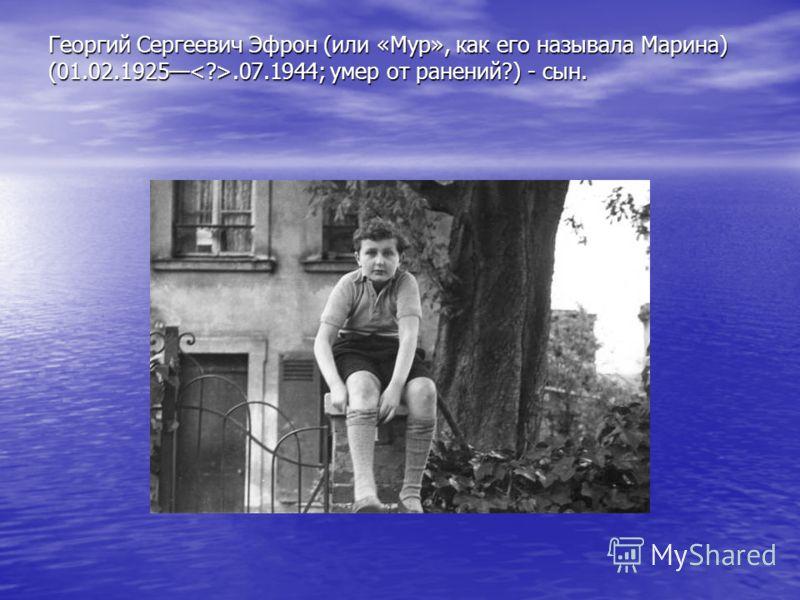 Георгий Сергеевич Эфрон (или «Мур», как его называла Марина) (01.02.1925.07.1944; умер от ранений?) - сын.