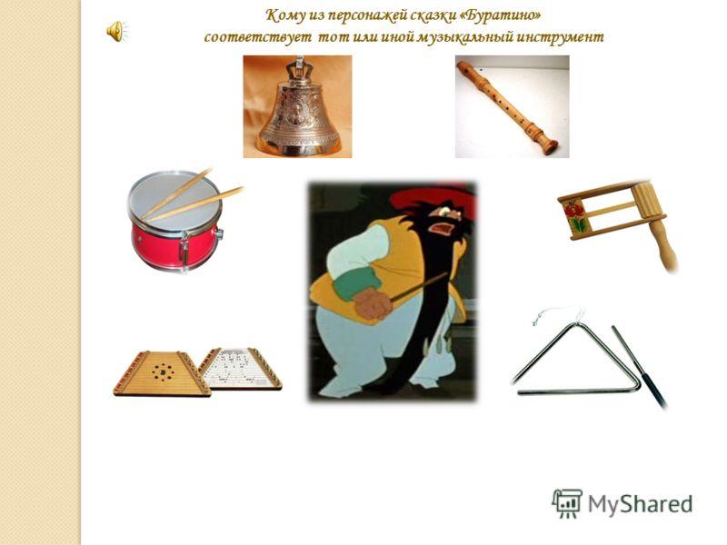 Кому из персонажей сказки «Буратино» соответствует тот или иной музыкальный инструмент
