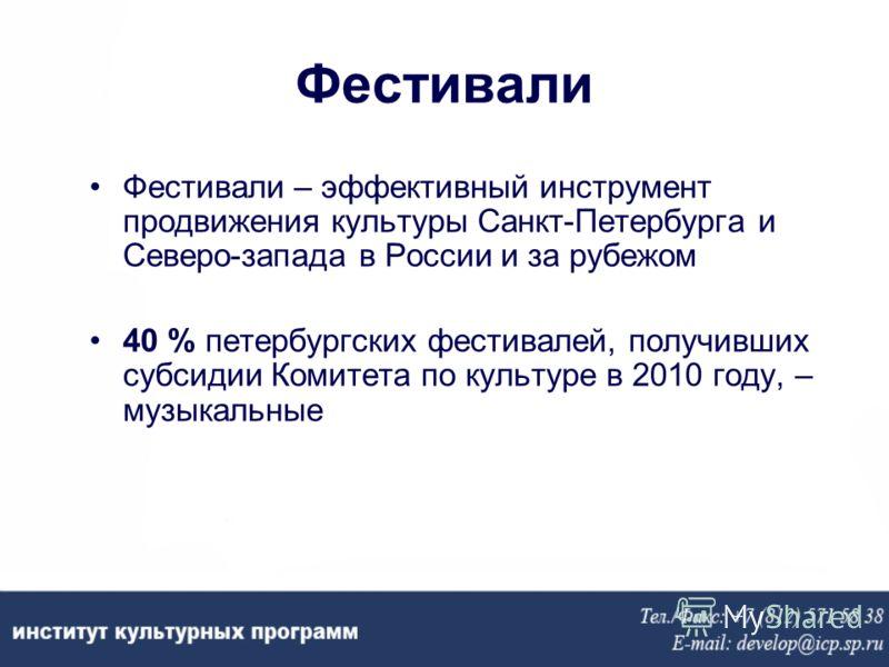 Фестивали Фестивали – эффективный инструмент продвижения культуры Санкт-Петербурга и Северо-запада в России и за рубежом 40 % петербургских фестивалей, получивших субсидии Комитета по культуре в 2010 году, – музыкальные