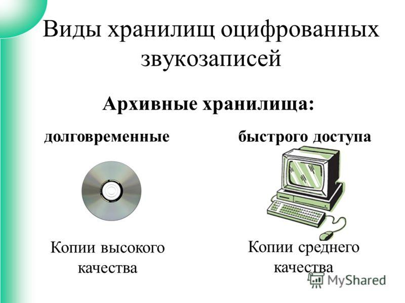 Архивные хранилища: Виды хранилищ оцифрованных звукозаписей долговременные быстрого доступа Копии высокого качества Копии среднего качества