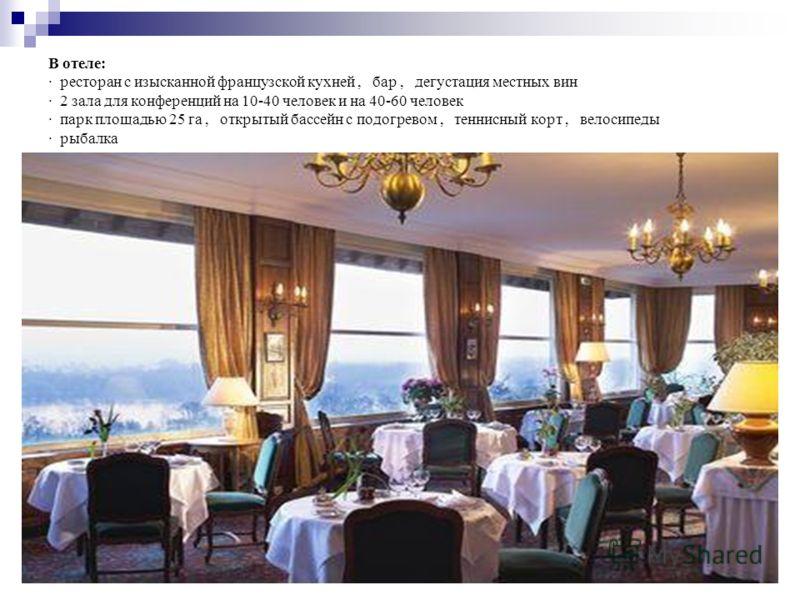 В отеле: · ресторан с изысканной французской кухней, бар, дегустация местных вин · 2 зала для конференций на 10-40 человек и на 40-60 человек · парк площадью 25 га, открытый бассейн с подогревом, теннисный корт, велосипеды · рыбалка