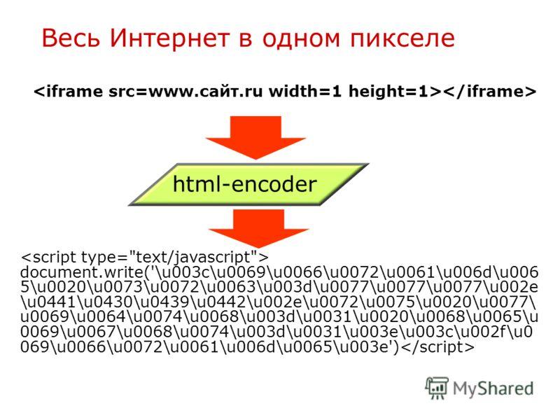 Весь Интернет в одном пикселе html-encoder document.write('\u003c\u0069\u0066\u0072\u0061\u006d\u006 5\u0020\u0073\u0072\u0063\u003d\u0077\u0077\u0077\u002e \u0441\u0430\u0439\u0442\u002e\u0072\u0075\u0020\u0077\ u0069\u0064\u0074\u0068\u003d\u0031\u