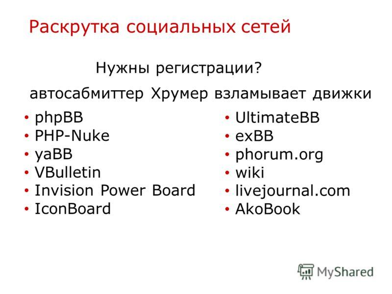 Раскрутка социальных сетей Нужны регистрации? phpBB PHP-Nuke yaBB VBulletin Invision Power Board IconBoard UltimateBB exBB phorum.org wiki livejournal.com AkoBook автосабмиттер Хрумер взламывает движки