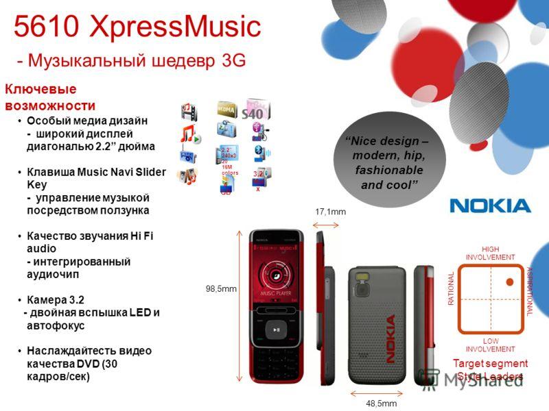 48,5mm 17,1mm Ключевые возможности 98,5mm Особый медиа дизайн - широкий дисплей диагональю 2.2 дюйма Клавиша Music Navi Slider Key - управление музыкой посредством ползунка Качество звучания Hi Fi audio - интегрированный аудиочип Камера 3.2 - двойная