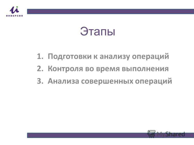 Этапы 1.Подготовки к анализу операций 2.Контроля во время выполнения 3.Анализа совершенных операций