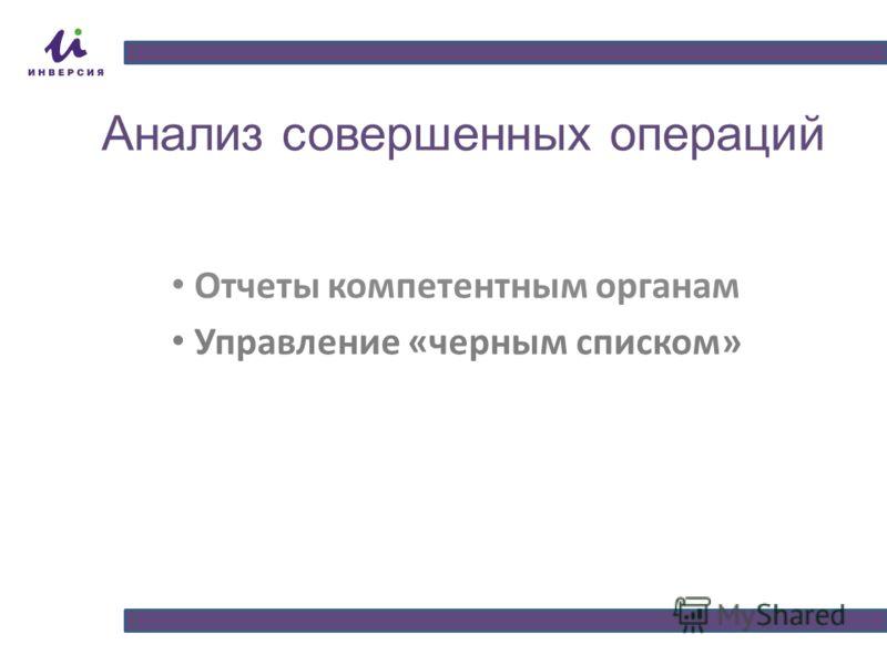 Анализ совершенных операций Отчеты компетентным органам Управление «черным списком»