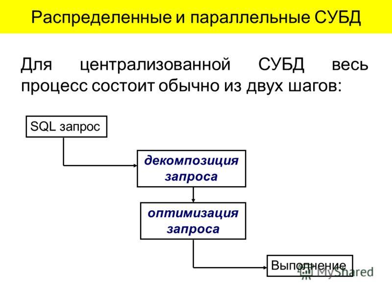 Распределенные и параллельные СУБД Для централизованной СУБД весь процесс состоит обычно из двух шагов: SQL запрос декомпозиция запроса оптимизация запроса Выполнение