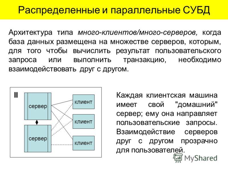 Распределенные и параллельные СУБД сервер клиент сервер II Архитектура типа много-клиентов/много-серверов, когда база данных размещена на множестве серверов, которым, для того чтобы вычислить результат пользовательского запроса или выполнить транзакц
