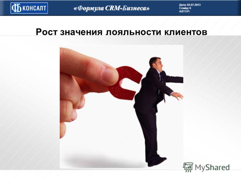 Дата: 02.07.2013 Слайд: 6 АВТОР: «Формула CRM-Бизнеса» Рост значения лояльности клиентов