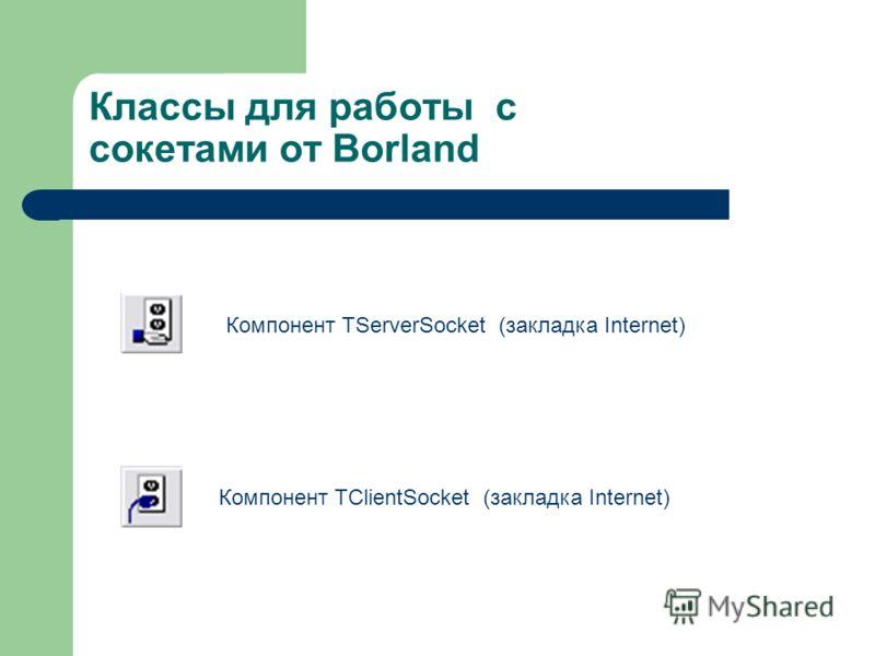 Классы для работы с сокетами от Borland Компонент TServerSocket (закладка Internet) Компонент TClientSocket (закладка Internet)