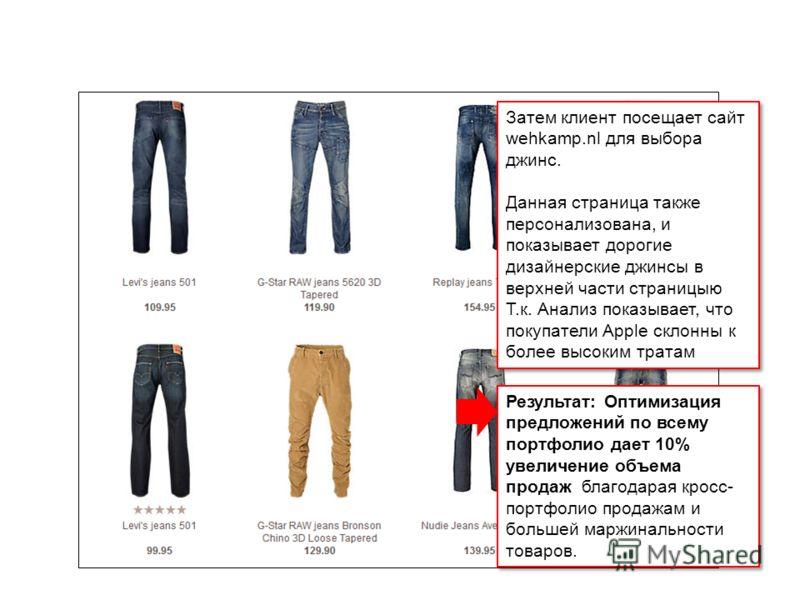 IBM Confidential Затем клиент посещает сайт wehkamp.nl для выбора джинс. Данная страница также персонализована, и показывает дорогие дизайнерские джинсы в верхней части страницыю Т.к. Анализ показывает, что покупатели Apple склонны к более высоким тр