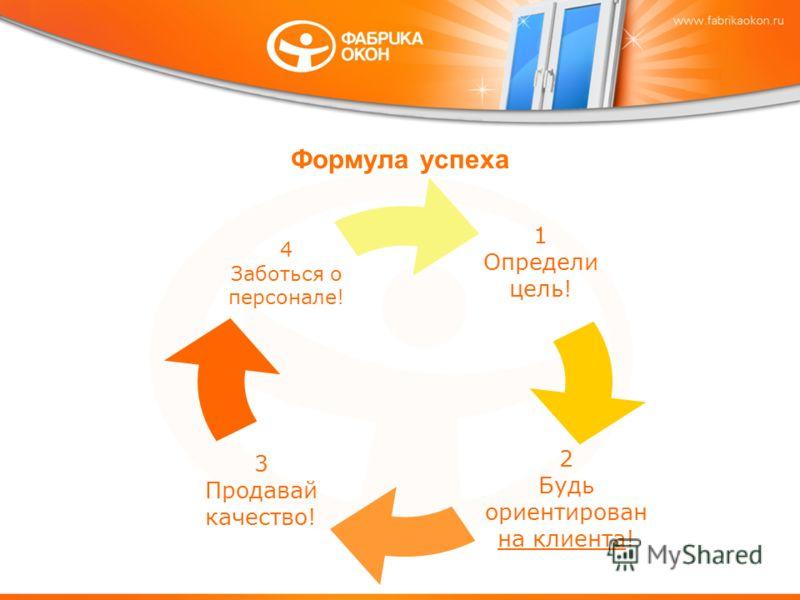 Формула успеха 1 Определи цель! 2 Будь ориентирован на клиента! 3 Продавай качество! 4 Заботься о персонале!