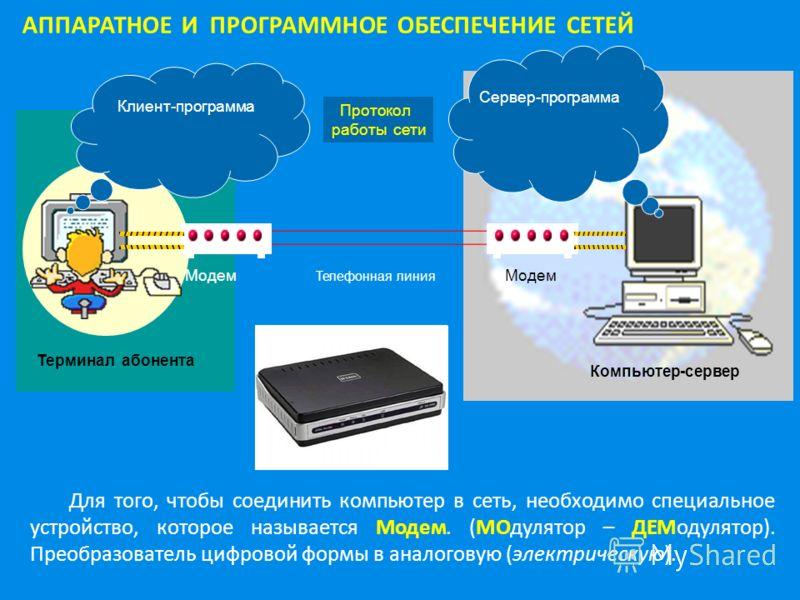 АППАРАТНОЕ И ПРОГРАММНОЕ ОБЕСПЕЧЕНИЕ СЕТЕЙ Клиент-программа Сервер-программа Протокол работы сети Модем Телефонная линия Компьютер-сервер Терминал абонента Для того, чтобы соединить компьютер в сеть, необходимо специальное устройство, которое называе