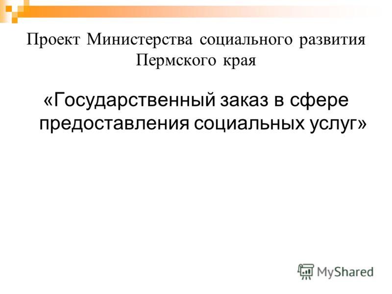 Проект Министерства социального развития Пермского края «Государственный заказ в сфере предоставления социальных услуг»
