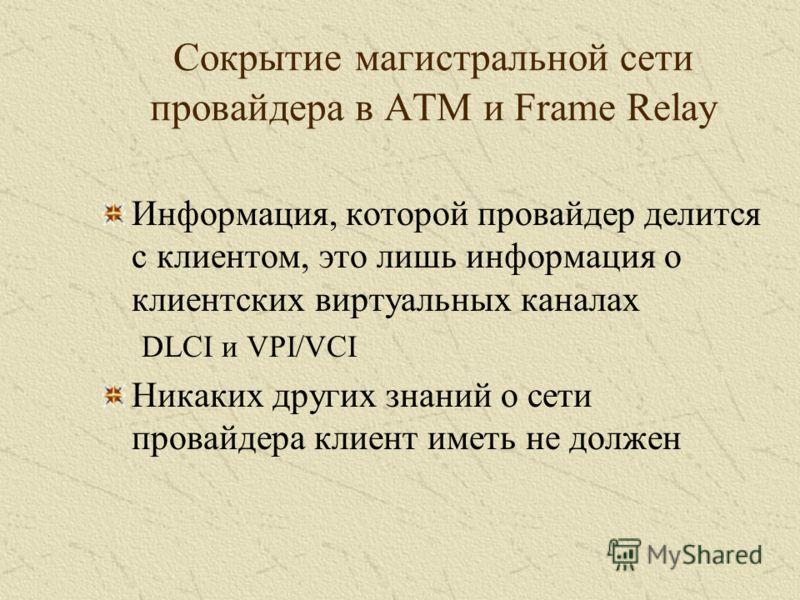 Сокрытие магистральной сети провайдера в ATM и Frame Relay Информация, которой провайдер делится с клиентом, это лишь информация о клиентских виртуальных каналах DLCI и VPI/VCI Никаких других знаний о сети провайдера клиент иметь не должен