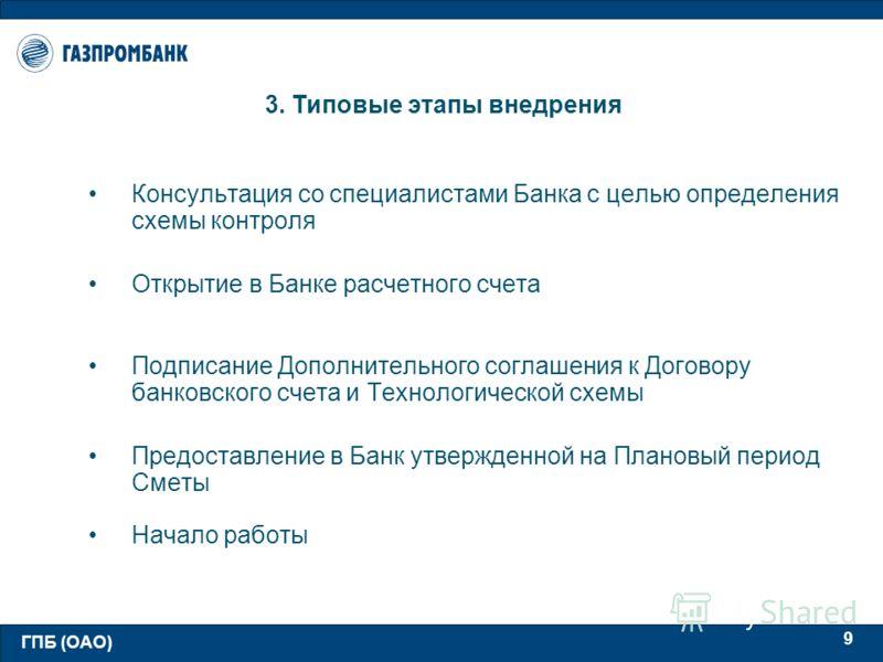 ГПБ (ОАО) 9 3. Типовые этапы внедрения Консультация со специалистами Банка с целью определения схемы контроля Открытие в Банке расчетного счета Подписание Дополнительного соглашения к Договору банковского счета и Технологической схемы Предоставление