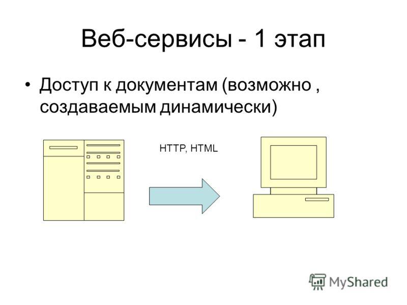 Веб-сервисы - 1 этап Доступ к документам (возможно, создаваемым динамически) HTTP, HTML