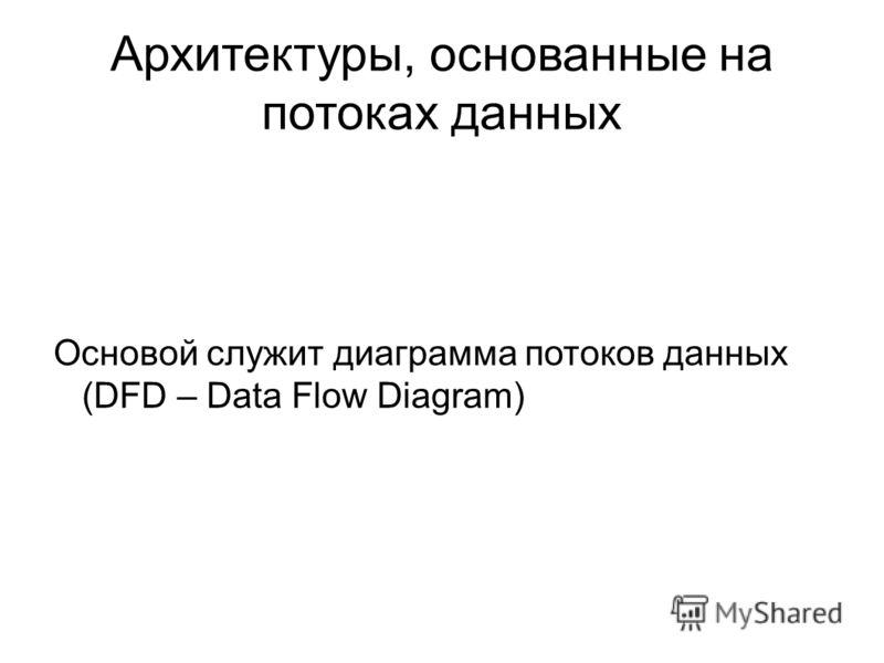 Архитектуры, основанные на потоках данных Основой служит диаграмма потоков данных (DFD – Data Flow Diagram)