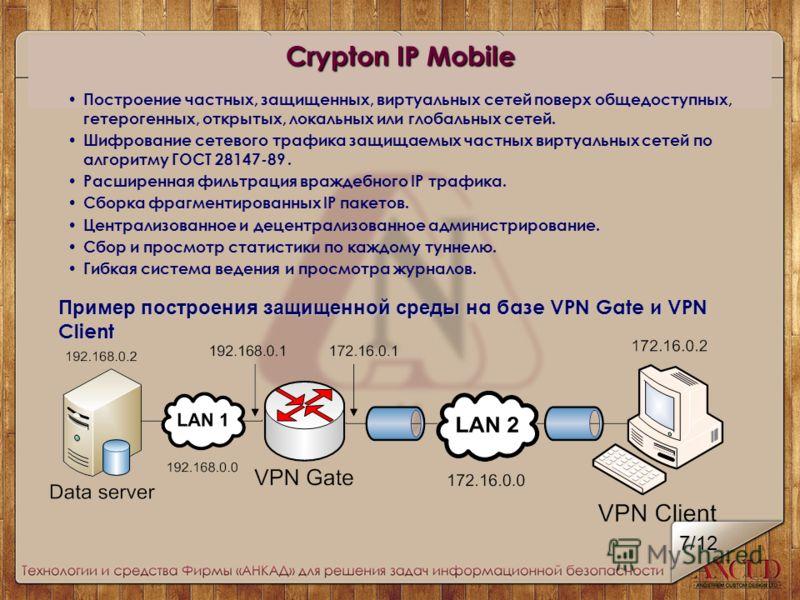 Пример построения защищенной среды н а базе VPN Gate и VPN Client Crypton IP Mobile Построение частных, защищенных, виртуальных сетей поверх общедоступных, гетерогенных, открытых, локальных или глобальных сетей. Шифрование сетевого трафика защищаемых