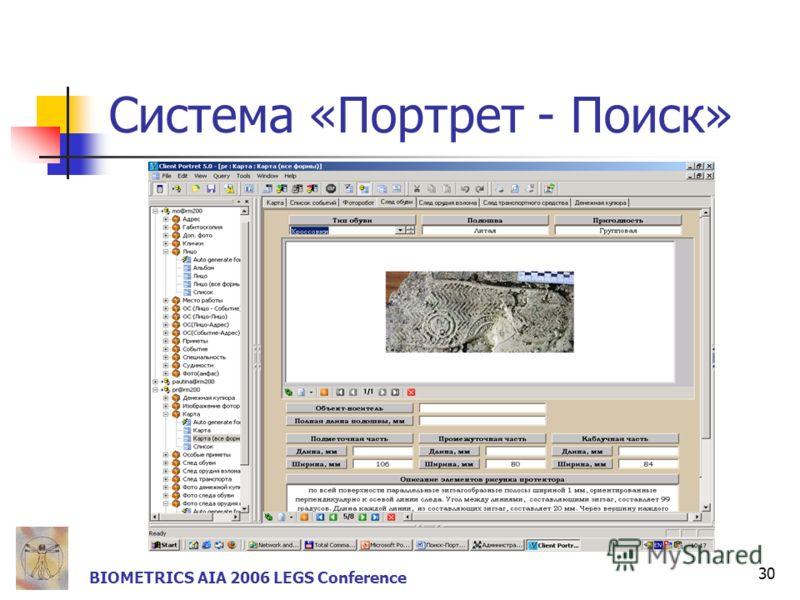 30 BIOMETRICS AIA 2006 LEGS Conference Система «Портрет - Поиск»