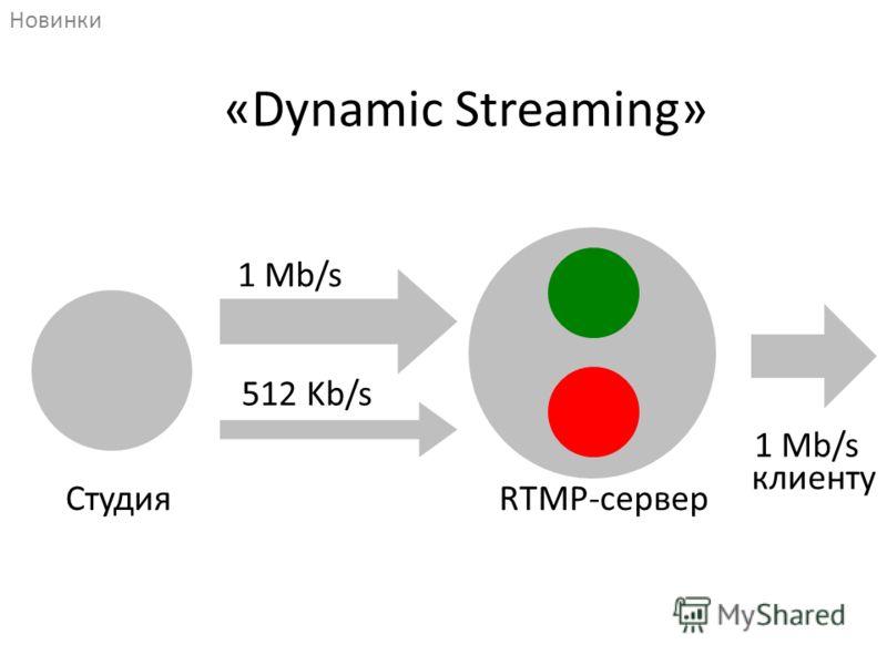 RTMP-сервер клиенту 1 Mb/s 512 Kb/s Студия 1 Mb/s «Dynamic Streaming» Новинки