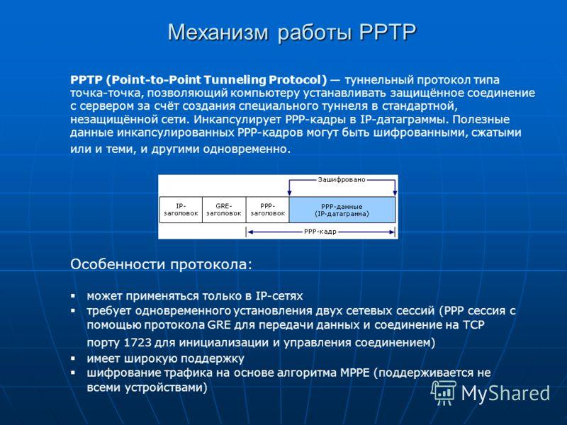 Механизм работы PPTP PPTP (Point-to-Point Tunneling Protocol) туннельный протокол типа точка-точка, позволяющий компьютеру устанавливать защищённое соединение с сервером за счёт создания специального туннеля в стандартной, незащищённой сети. Инкапсул