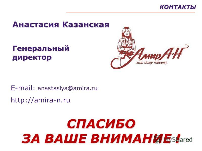 22КОНТАКТЫСПАСИБО ЗА ВАШЕ ВНИМАНИЕ ! Анастасия Казанская Генеральныйдиректор Е-mail: anastasiya@amira.ru http://amira-n.ru