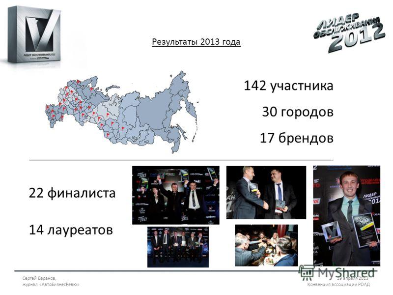 Сергей Баранов,19 апреля 2013 журнал «АвтоБизнесРевю» Конвенция ассоциации РОАД Результаты 2013 года 142 участника 30 городов 17 брендов 22 финалиста 14 лауреатов