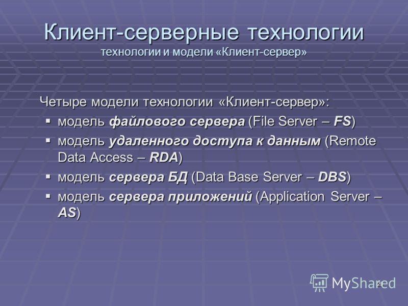 20 Клиент-серверные технологии технологии и модели «Клиент-сервер» Четыре модели технологии «Клиент-сервер»: модель файлового сервера (File Server – FS) модель файлового сервера (File Server – FS) модель удаленного доступа к данным (Remote Data Acces