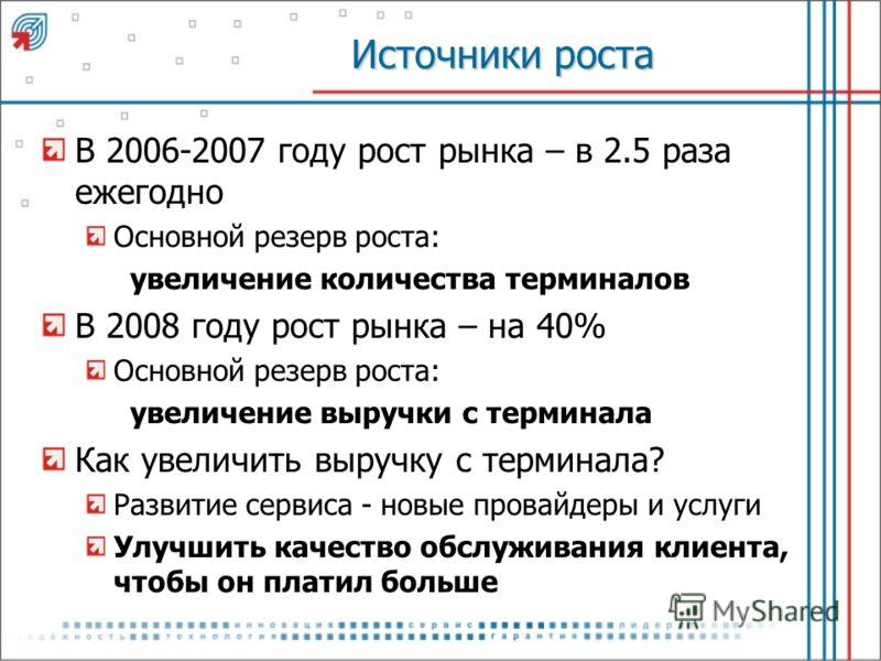 Источники роста В 2006-2007 году рост рынка – в 2.5 раза ежегодно Основной резерв роста: увеличение количества терминалов В 2008 году рост рынка – на 40% Основной резерв роста: увеличение выручки с терминала Как увеличить выручку с терминала? Развити