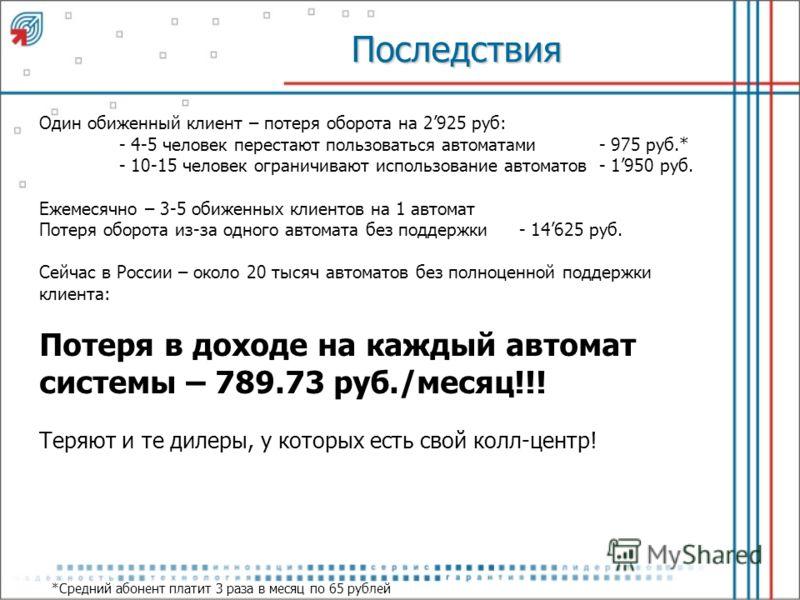 Последствия Один обиженный клиент – потеря оборота на 2925 руб: - 4-5 человек перестают пользоваться автоматами- 975 руб.* - 10-15 человек ограничивают использование автоматов- 1950 руб. Ежемесячно – 3-5 обиженных клиентов на 1 автомат Потеря оборота