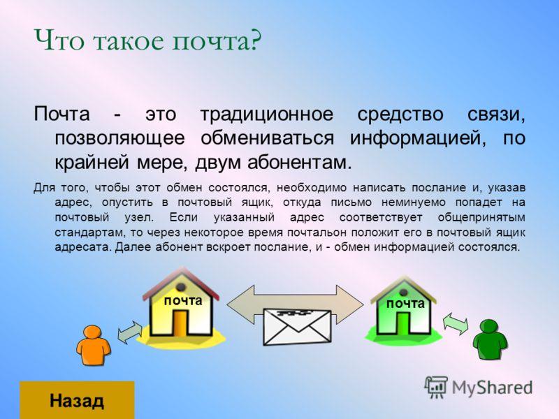 Что такое почта? Почта - это традиционное средство связи, позволяющее обмениваться информацией, по крайней мере, двум абонентам. Для того, чтобы этот обмен состоялся, необходимо написать послание и, указав адрес, опустить в почтовый ящик, откуда пись