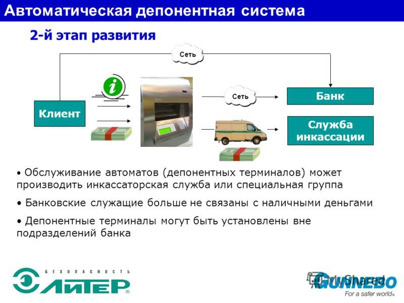 2-й этап развития Служба инкассации Банк Клиент Обслуживание автоматов (депонентных терминалов) может производить инкассаторская служба или специальная группа Банковские служащие больше не связаны с наличными деньгами Депонентные терминалы могут быть