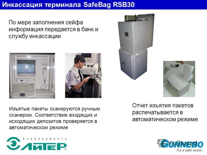 По мере заполнения сейфа информация передается в банк и службу инкассации Отчет изъятия пакетов распечатывается в автоматическом режиме Инкассация терминала SafeBag RSB30 Изъятые пакеты сканируются ручным сканером. Соответствие входящих и исходящих д