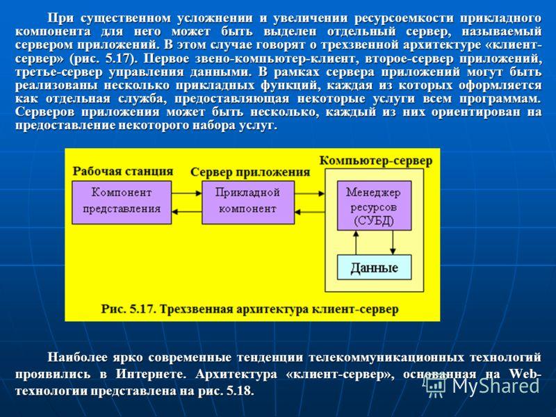 При существенном усложнении и увеличении ресурсоемкости прикладного компонента для него может быть выделен отдельный сервер, называемый сервером приложений. В этом случае говорят о трехзвенной архитектуре «клиент- сервер» (рис. 5.17). Первое звено-ко