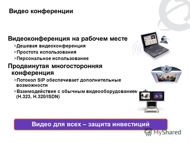 PG 11 Видео конференции Видеоконференция на рабочем месте >Дешевая видеоконференция >Простота использования >Персональное использование Продвинутая многосторонняя конференция >Потокол SIP обеспечивает дополнительные возможности >Взаимодействие с обыч