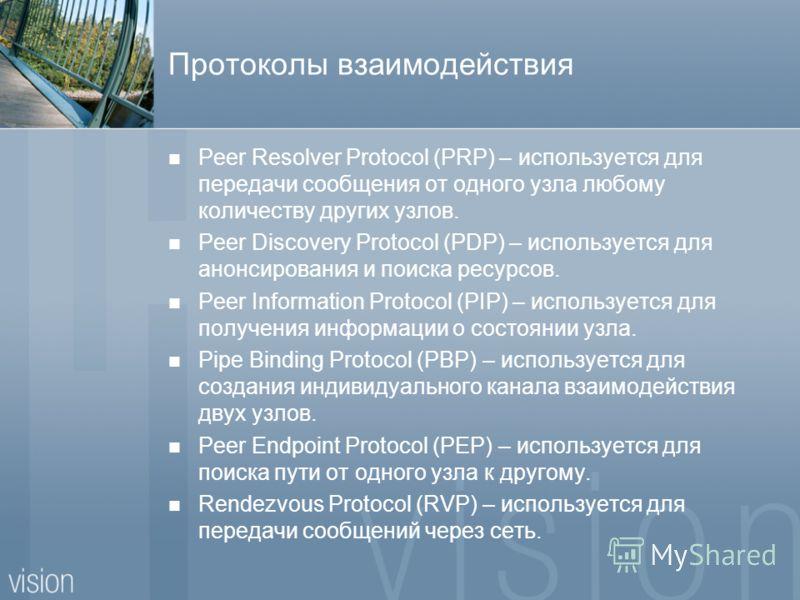 Протоколы взаимодействия Peer Resolver Protocol (PRP) – используется для передачи сообщения от одного узла любому количеству других узлов. Peer Discovery Protocol (PDP) – используется для анонсирования и поиска ресурсов. Peer Information Protocol (PI