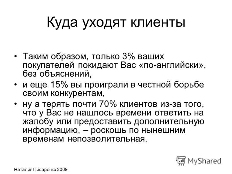 Наталия Писаренко 2009 Куда уходят клиенты Таким образом, только 3% ваших покупателей покидают Вас «по-английски», без объяснений, и еще 15% вы проиграли в честной борьбе своим конкурентам, ну а терять почти 70% клиентов из-за того, что у Вас не нашл