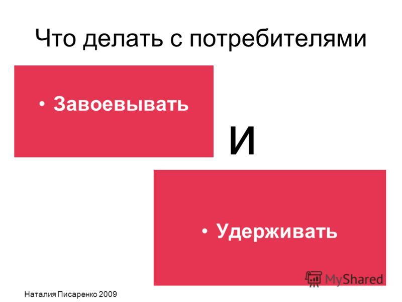 Наталия Писаренко 2009 Что делать с потребителями Завоевывать Удерживать и